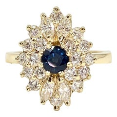 Yellow Gold Diamond and Sapphire Cocktail Ring