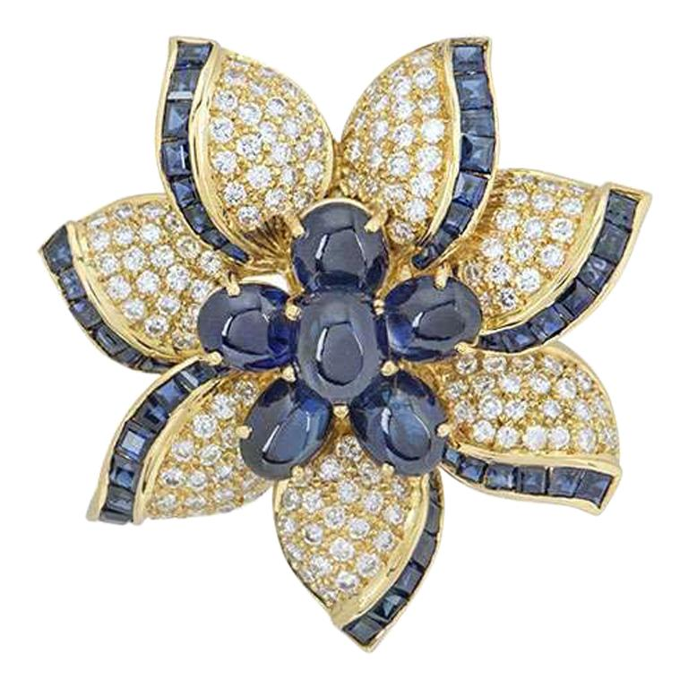 Yellow Gold Diamond and Sapphire Flower Brooch For Sale