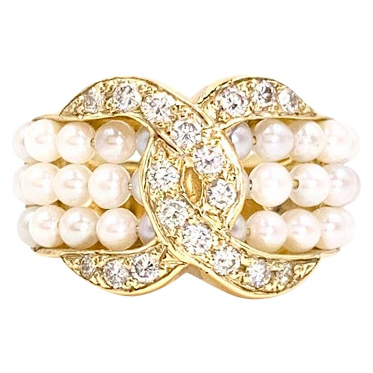 Yellow Gold Diamond and Seed Pearl Ring