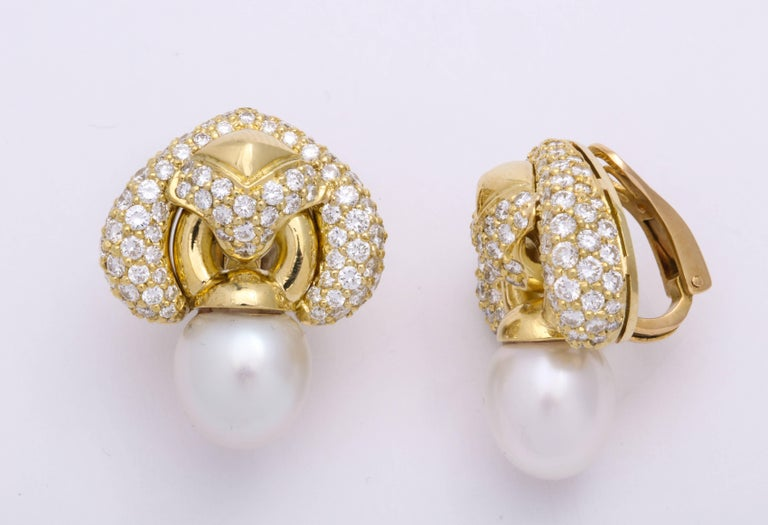 Round Cut Yellow Gold Diamond and South Sea Pearl Earrings For Sale