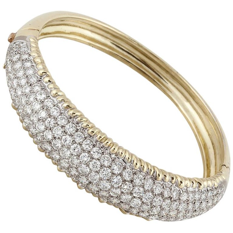 Yellow Gold Diamond Bangle Bracelet For Sale