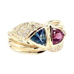 Yellow Gold Diamond, Blue Topaz and Rhodolite Garnet Wide Ring