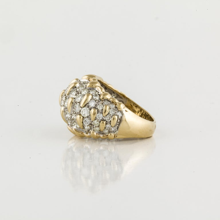 Round Cut Yellow Gold Diamond Bombay Dome Ring For Sale