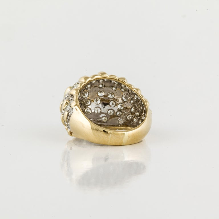 Yellow Gold Diamond Bombay Dome Ring In Good Condition For Sale In Houston, TX