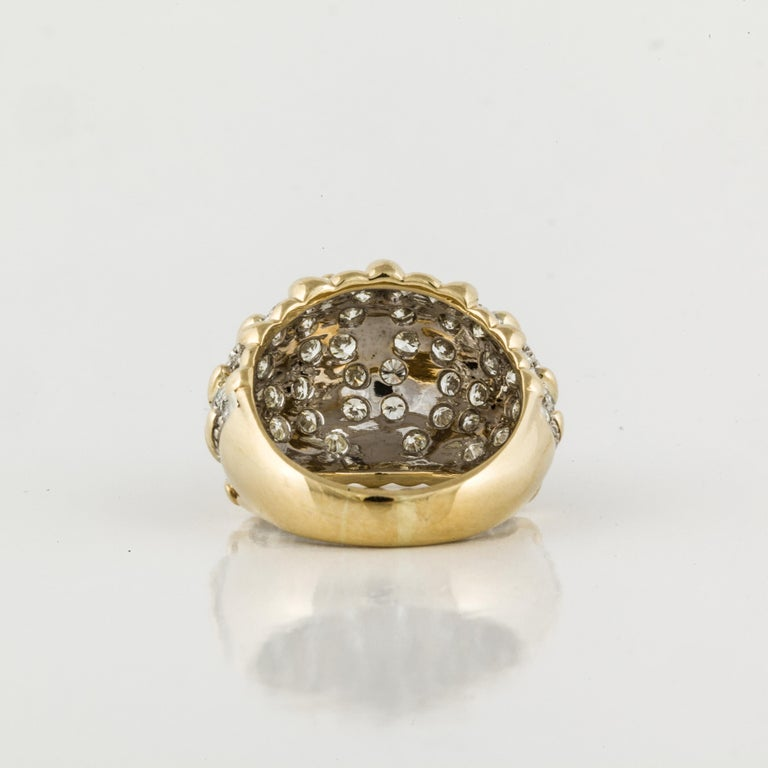 Women's or Men's Yellow Gold Diamond Bombay Dome Ring For Sale