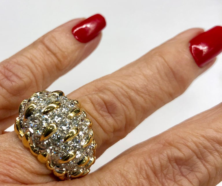 Yellow Gold Diamond Bombay Dome Ring For Sale 1