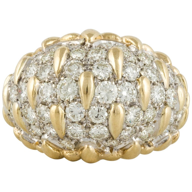 Yellow Gold Diamond Bombay Dome Ring For Sale