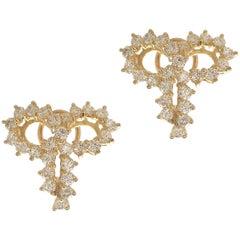 Yellow Gold Diamond Bow Earrings