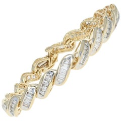 Yellow Gold Diamond Bracelet, 14k Round Brilliant and Baguette 4.50 Carat Link