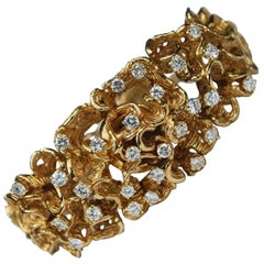 Yellow Gold Diamond Bracelet Hidden Watch Modernist Abstract, circa 1960