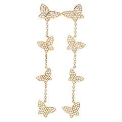 Yellow Gold Diamond Butterfly Dangle Earrings