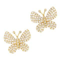 Yellow Gold Diamond Butterfly Stud Earrings