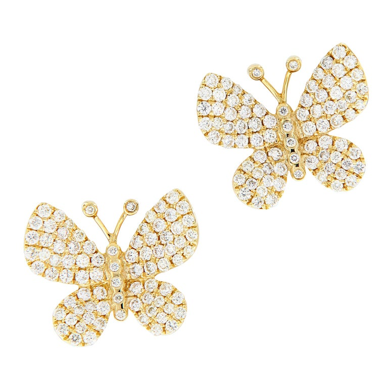 6027b8c8405d5 Yellow Gold Diamond Butterfly Stud Earrings