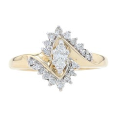 Yellow Gold Diamond Bypass Engagement Ring, 14k Marquise Cut .40ctw