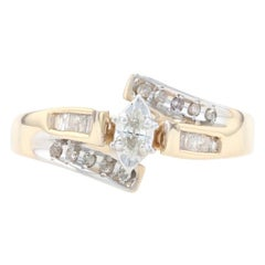 Yellow Gold Diamond Bypass Ring, 10k Marquise Cut .25ctw Engagement
