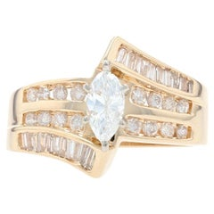 Yellow Gold Diamond Bypass Ring, 14 Karat Marquise Cut 1.00 Carat Engagement
