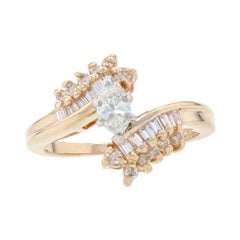 Yellow Gold Diamond Bypass Ring, 14k Marquise Cut .45ctw Engagement