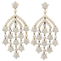 Yellow Gold Diamond Chandelier Earrings