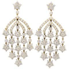 Gelbgold Diamant Chandelier Ohrringe