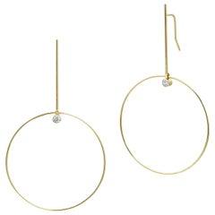 Yellow Gold Diamond Circle Drop Statement Earrings