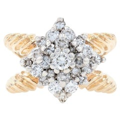Yellow Gold Diamond Cluster Cocktail Ring, 14k Round Brilliant Cut 1.00 Carat