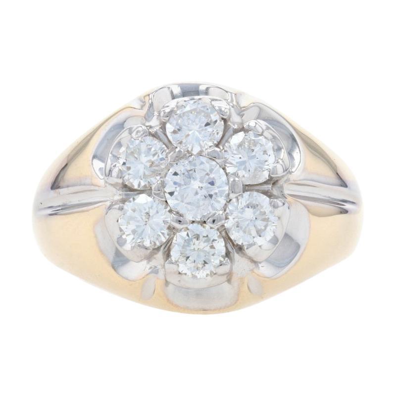 Yellow Gold Diamond Cluster Halo Men's Ring, 14k Round Brilliant Cut 1.60ctw