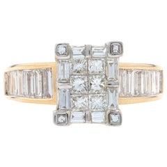 Yellow Gold Diamond Cluster Halo Ring, 14 Karat Princess Cut 2.10 Carat