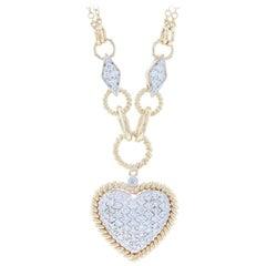 Yellow Gold Diamond Cluster Heart Necklace, 14k Round Brilliant Cut 1.20 Carat