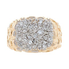 Yellow Gold Diamond Cluster Men's Ring 14k Round Brilliant .50ctw Nugget Texture
