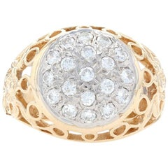 Yellow Gold Diamond Cluster Men's Ring, 14k Round Brilliant Cut 1.00ctw Flowers