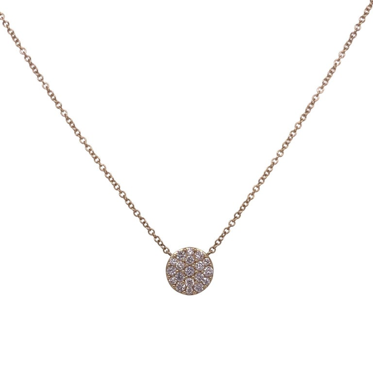 Cluster Diamond Pendant Necklace made with real/natural brilliant cut diamonds. Diamond Weight: 0.54 carats, Diamond Quantity: 24 round diamonds. Mounted on 18 karat yellow gold, two setting adjustable chain.
