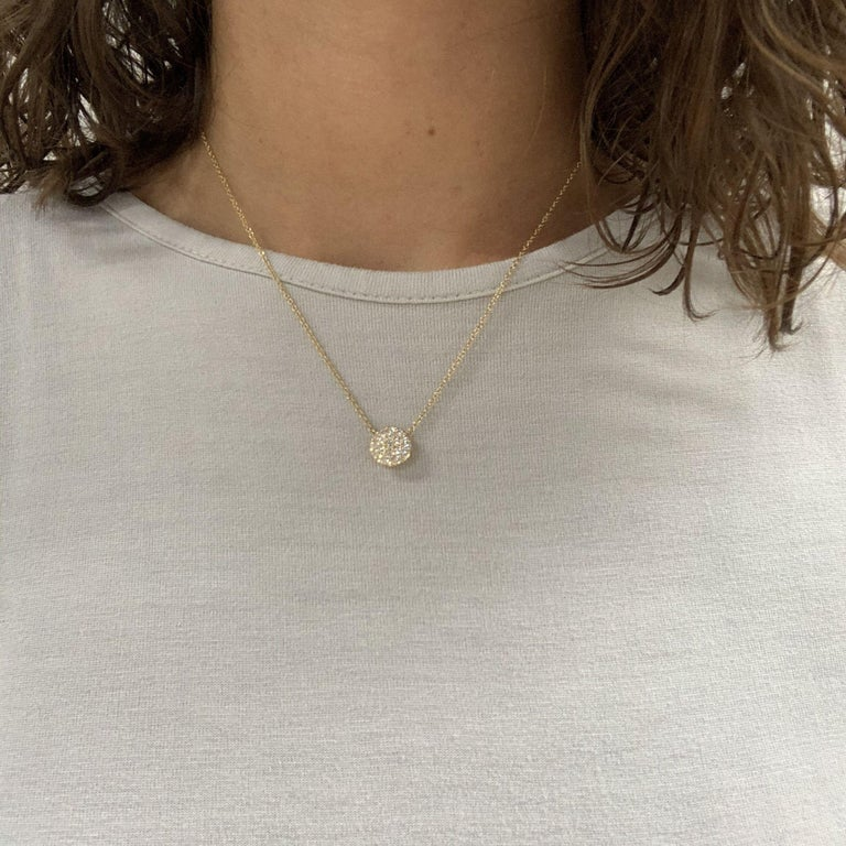 Women's Yellow Gold Diamond Cluster Pendant Necklace For Sale