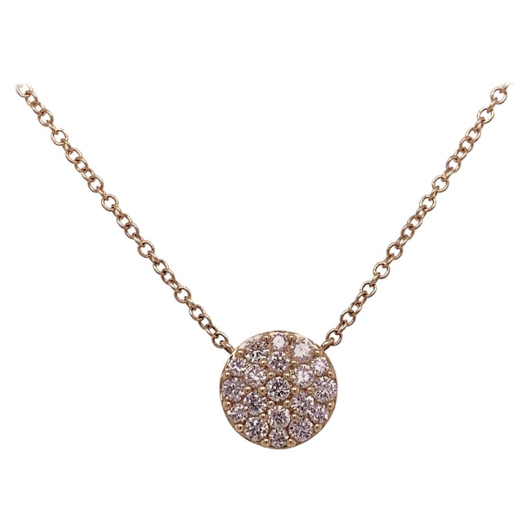 Yellow Gold Diamond Cluster Pendant Necklace For Sale