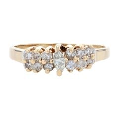 Yellow Gold Diamond Cluster Ring, 14k Marquise Cut .80ctw Tiered