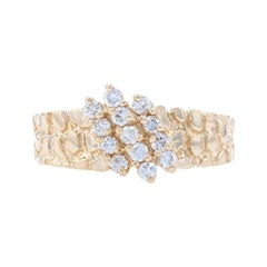 Yellow Gold Diamond Cluster Ring, 14k Round Brilliant Cut .35ctw Nugget Texture