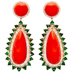 Yellow Gold Diamond Coral and Tourmaline Cocktail Earrings