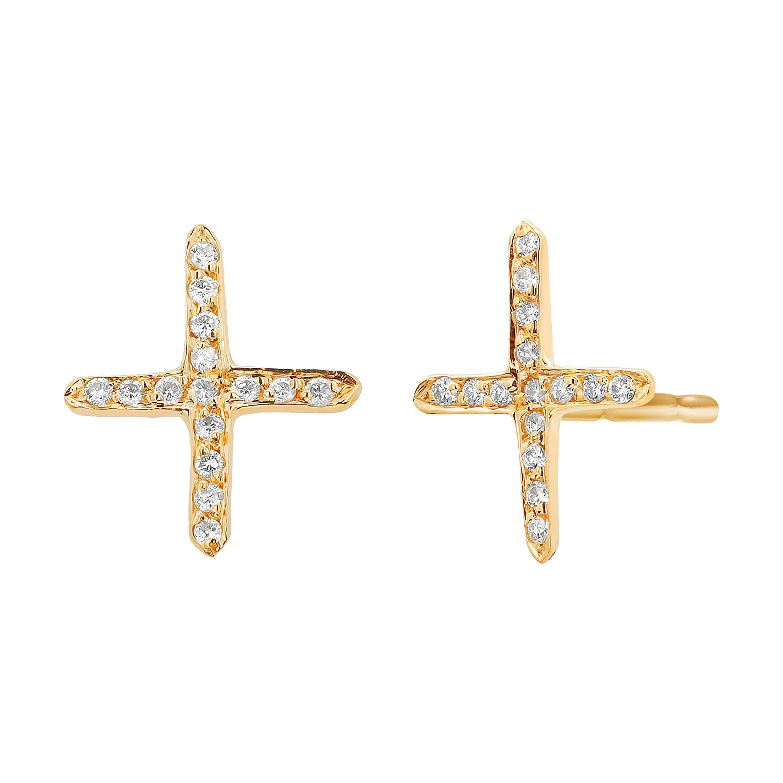 Yellow Gold Diamond Cross Stud Earrings
