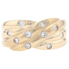 Yellow Gold Diamond Crossover Band, 14k Round Brilliant .30ctw Ribbed Matte Ring
