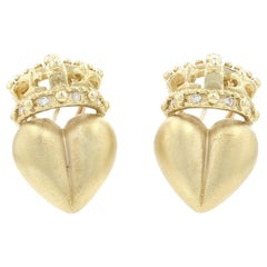 Yellow Gold Diamond Crowned Heart Large Stud Earrings 18k Round Cut .12ctw Omega