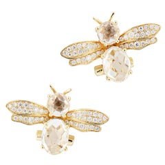 Yellow Gold Diamond Crystal Bumblebee Stud Earrings