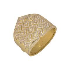 Yellow Gold Diamond Cuff Bangle 15.00 Carat