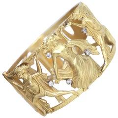 Yellow Gold Diamond Cuff Bangle Bracelet Signed Dance, 1970s