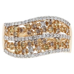 Yellow Gold Diamond Curved Cluster Band, 14k Single Cut .55 Carat Floral Ring