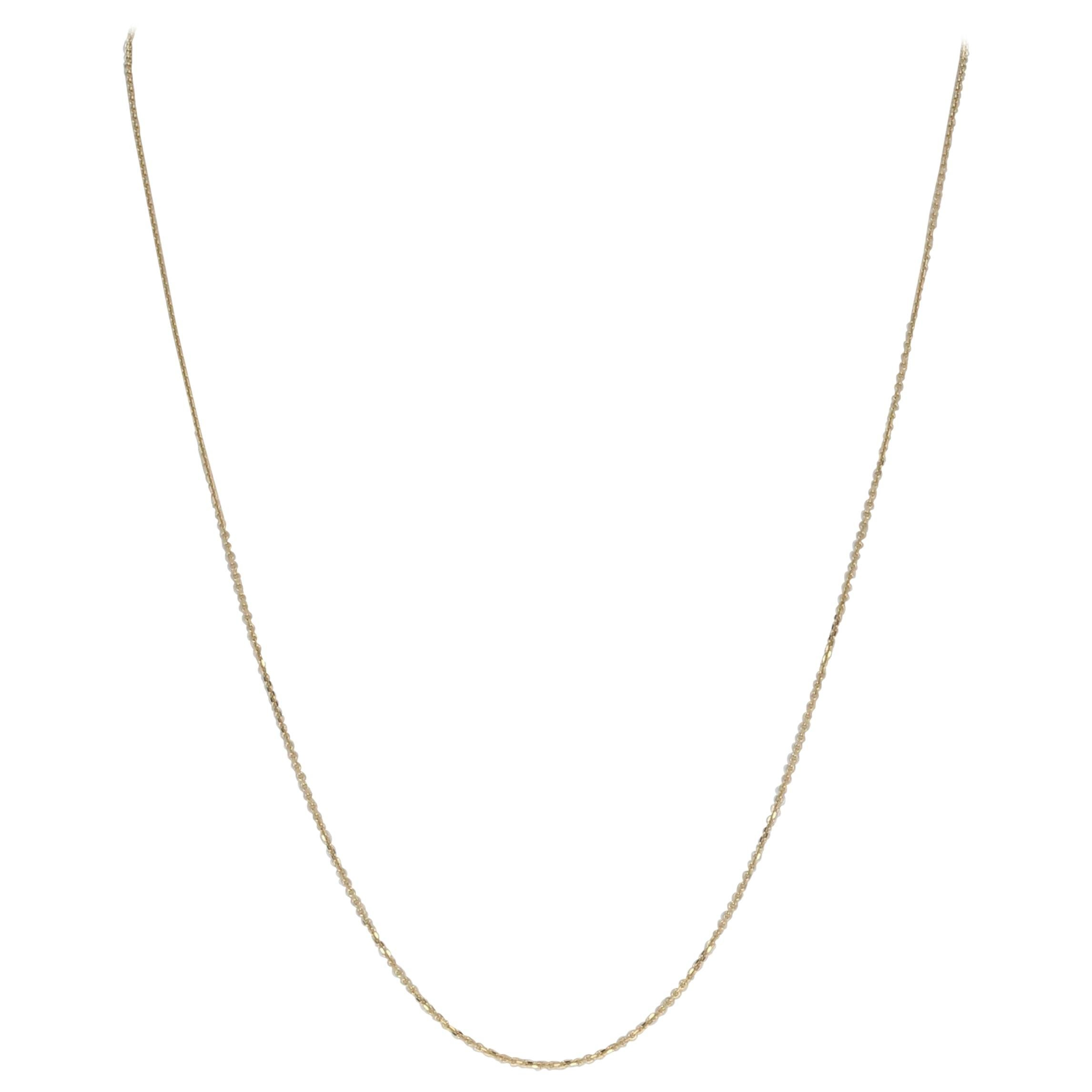 Yellow Gold Diamond Cut Cable Chain Necklace, 14 Karat Lobster Claw Clasp