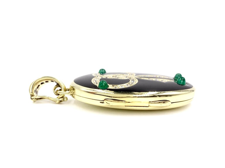 Women's or Men's Yellow Gold Diamond, Emerald and Enamel Locket For Sale