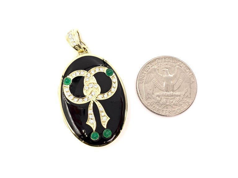 Yellow Gold Diamond, Emerald and Enamel Locket For Sale 2