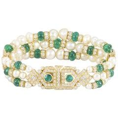 Yellow Gold Diamond, Emerald and Pearl Bracelet