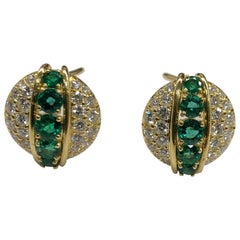 Yellow Gold Diamond Emerald Button Earrings
