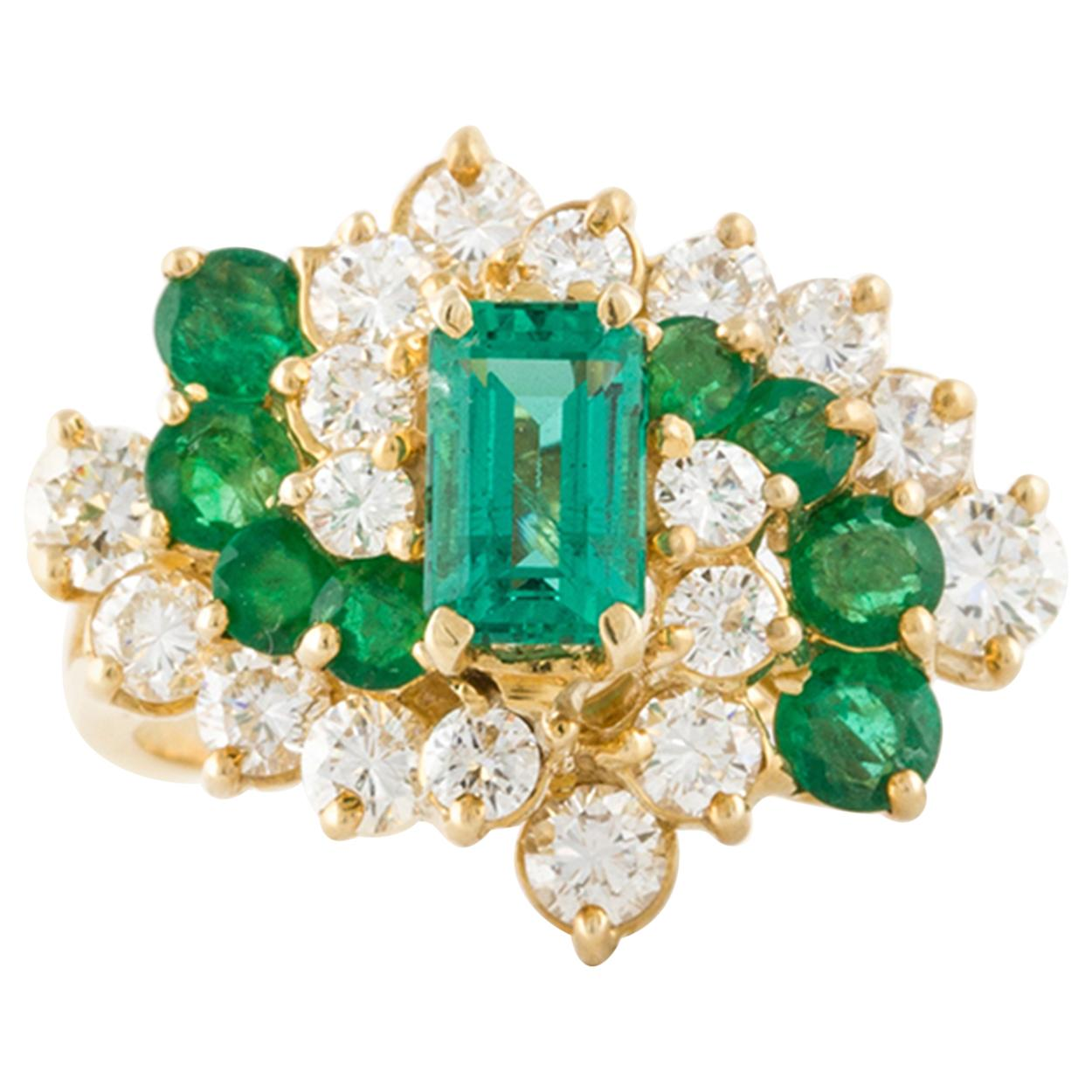 18K Yellow Gold Diamond and Emerald Cluster Ring