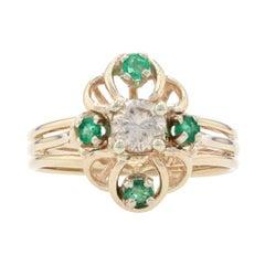 Yellow Gold Diamond & Emerald Floral Ring, 14k Round Brilliant Cut .45ctw